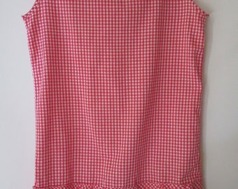 Vintage 1960s Youth Gingham Red and White Youth Shift Dress
