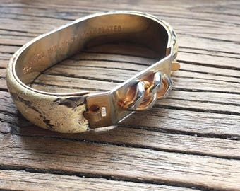 Vintage 24 Kt. Gold Plated Snakeskin Bracelet, Made in Italy, Women's Bracelets, Cuff Bracelet, Metal Bracelet, Animal Print Bracelet