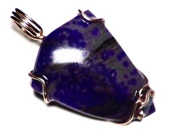 Sugilite Necklace, Gold Sugilite Pendant, Purple Sugilite in 14k Rose Gold, Gel Sugilite in Matrix, Cut Triangle Cabochon Christmas Present