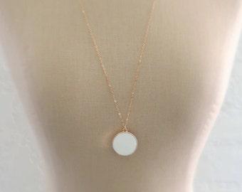 Pendant Necklace - Enamel Necklace - Gold Necklace - White Necklace - Boho Necklace - Round Necklace - Long Necklace - Handmade Jewelry
