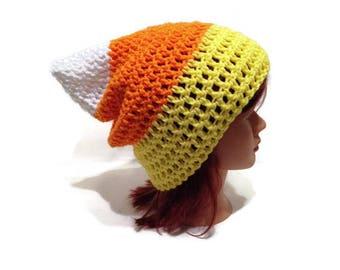 Candy Corn Hat, Candy Corn, Halloween Hat, Cosplay Hat, Kawaii Hat, Halloween, Candy Corn Beanie, Halloween Costume, Fall Hat, Kawaii