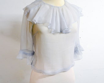1930s Pale blue sheer silk frill neck blouse / 30s pastel georgette see through Pierrot unfitted top - S
