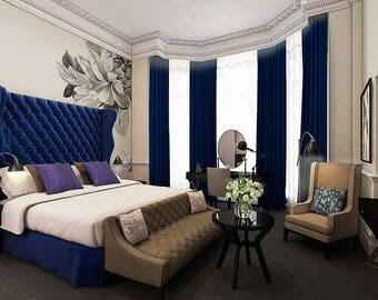 Tufted Bed Wingback Headboard Blue Velvet Footboard Platform Frame Crystal Button King CUSTOM MADE For ROBERT