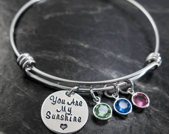 You are My Sunshine / Wire Bangle / My only sunshine / Sunshine Bracelet / Mother Jewelry / Personalized Bracelet / Mother's Day