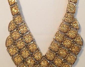 Vintage Bib Tile Necklace, Gold Tone, Choker, Collectible, 1970s