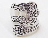 Spoon rings, wrap style, floral pattern, 925 silver, size 7