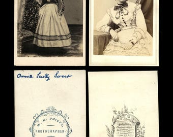 two 1860s cdv photos ID'd kentucky girl and pretty woman by bogardus new york / fashion & genealogy