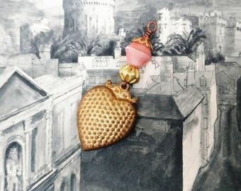 Vintage Brass Heart Pendant