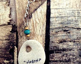 Personalized Gift for him, Keychain, for father, Keychain for Man, Unique keychain, Drilled Beach Rocks, Handmade keychain, Gift For Men