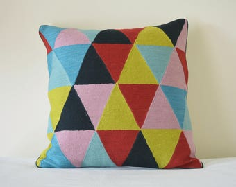 Triangles Multi Colour Embroidered Wool Cushion Cover, Bold Triangles Embroidered Pillow Cover, Bright Embroidery on Cotton Pillow Cover