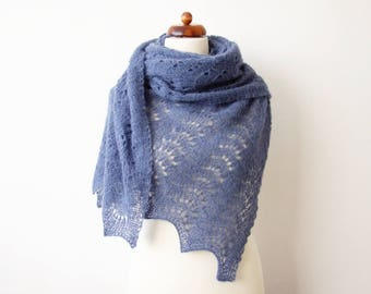 large blue scarf, alpaca silk lace shawl, hand knitted wrap, bridal cover up