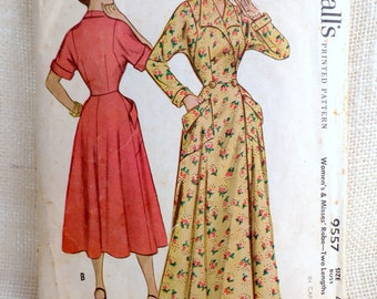 Vintage McCall's 9557 1950s robe wraparound housecoat pattern Bust 32 Hollywood style batwing Brunch coat
