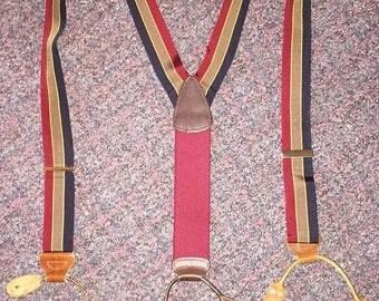 Vintage Men's Braces Suspenders Multicolor Striped
