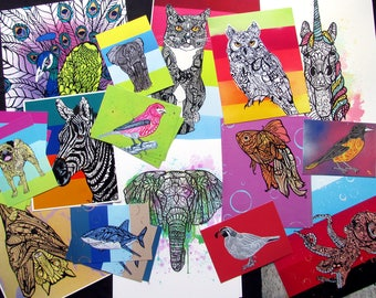 Art Print Grab Bag Animal Tangles Random Mix