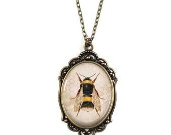"Honeybee Brass Cameo Pendant on 18"" Chain Necklace"