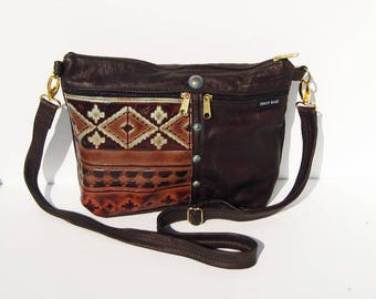 Dark  Brown Southwestern Embossed Genuine Leather Medium Purse