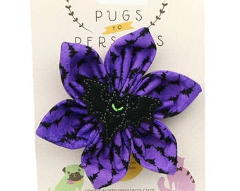 Halloween Dog Bow - Spooky Bats on Purple Bats - Flower - Collar Blossom - Large Size