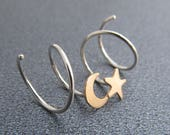 Moon and Star Hoop Earrings for Two Holes / Mixed Metal Hoops / Yellow Gold Filled and Silver Hoops / Double Piercing Hoops / Double Pierced
