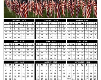 2018 annual calendar page - American Flag Tribute