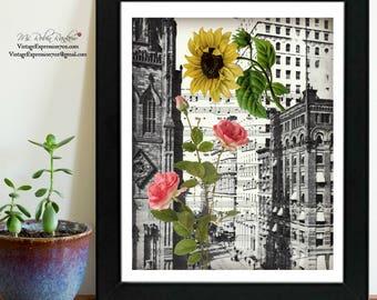 New York, Art Deco, Vintage Flowers, on Vintage Music Sheet, Print