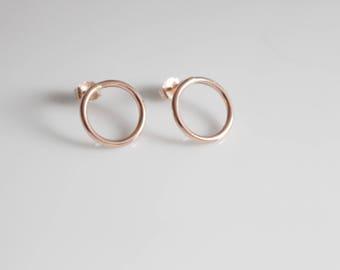 Rose Gold Earrings / Geometric Rose Gold Circle Studs/ Dainty Rose Gold Earrings 14K Gold Fill Hoop Earrings Minimalist Pink Gold Earrings