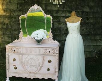 A N T I Q U E  Pink Tiara Mirrored Dresser, Jacobean Style Dresser