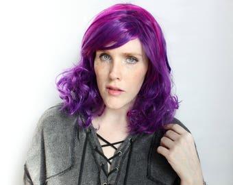 Purple Pink wig | Curly Purple Wig, Scene Wig | Bob wig, Long Bob wig, Lob wig | Neon Galaxy