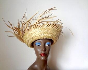 1960s Straw Resort Hat - fringed sun hat - vintage tiki or beach accessory