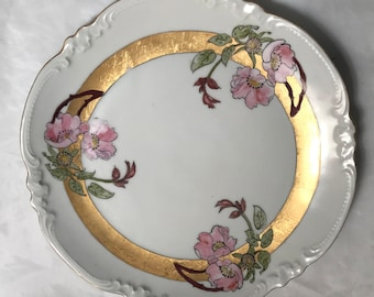 Eagle China Austria Hand Painted Pink Flower Scalloped Edge Dessert Plate Vintage Antique 1900's