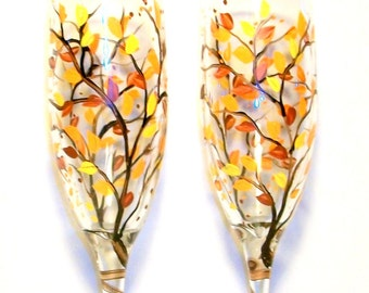 Fall Leaves Autumn Tree Champagne Flutes Brown Branches Set of 2 - 6 oz. Hand Painted Wedding Glasses Personalized Orange Yellow Brown