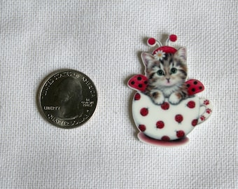 Acrylic Ladybug Kitten Bow Center Magnet Badge Reel Accessories Teacup