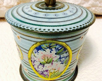 Vintage Baret WareTin Box Green Floral Made in England with Embossing and Knob on Lid Pink Aqua Gold Ornate Collectible