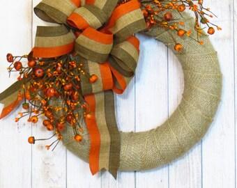 Fall Wreath, Autumn Wreath, Fall Burlap Wreath, Rustic Decor, Fall Country Wreath