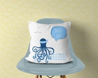 Personalized Nautical Nursery Decor Pillow , Octopus Pillow Kid's Room Name, Navy Nursery Boy Sea Beach Decor, Custom Boy Octopus Room Decor