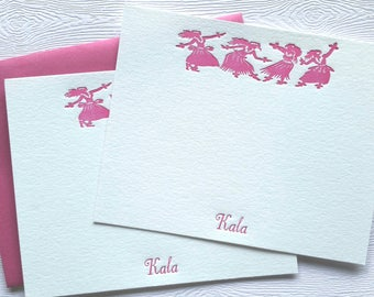 Hula Personalized Letterpress Stationery Fuchsia Magenta