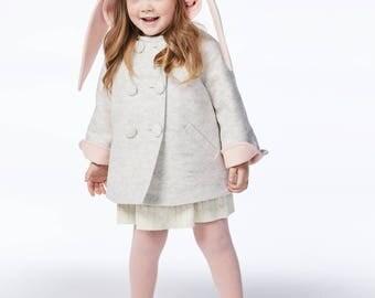 Girls Bunny Coat// Girls Handmade Clothing// Grey Wool Bunny Jacket// Baby Bunny Coat// Toddler Girl Clothing// Easter Bunny // Winter