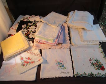 An Assortment of Vintage Handkies Handkerchiefs in 9 Different Lots - Choice - VC8NF