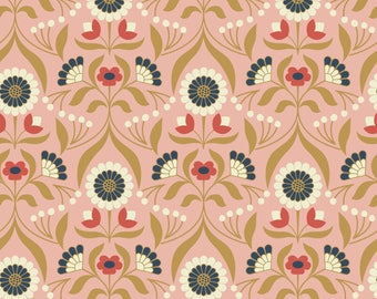 Drawing Room Blooms on Rose  A242.1 - CHIEVELEY - Lewis and Irene Fabric - By the Yard
