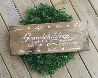 Grandchildren Sign, Family Name Sign, Rusitc Personalized Sign, Farmhouse Sign, Personalized Gifts, Christmas Gift
