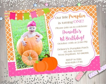 Pumpkin Birthday Invitation invite 1st birthday invitation invite pumpkin patch photo picture digital DIY Orange Pink Halloween