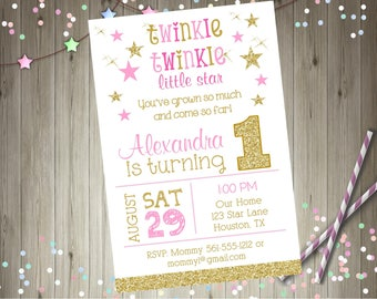 Twinkle Twinkle Little Star First birthday invitation invite pink and gold little star 1st birthday invitation Printable