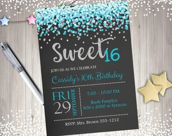 Sweet 16 birthday party invitation invite Sweet Sixteen Party Printable Invitation