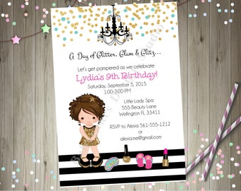 Glamour Party Invitation invite Dress Up Pamper Spa Day Spa Party Glam Diva Party Printable CHOOSE YOUR GIRL