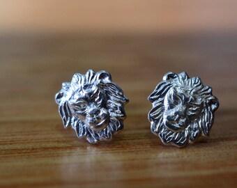 Silver Lion Earrings, Little Animal Earrings, Sterling Silver Post Earrings, Handmade Lion Charm Studs, Girlfriend Gift, Animal Jewelry