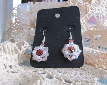 Beveled Rivoli Earrings - Hand sewn bead weaving