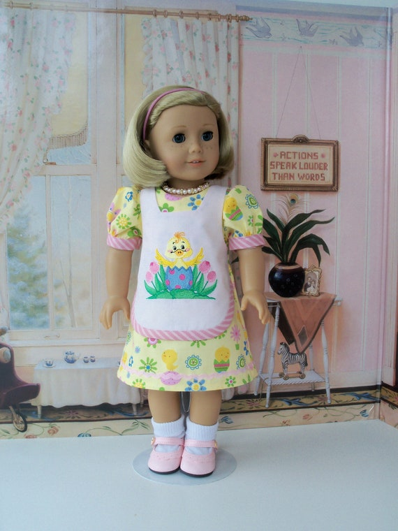 Like  American Girl Doll Clothes / Kit's Easter Dress, Necklace and Shoes / 18 Inch Doll Clothes by Farmcookies