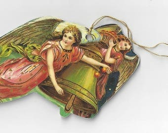 Vintage Two Angels and Christmas Bell Die Cut Christmas Ornament, 1980s
