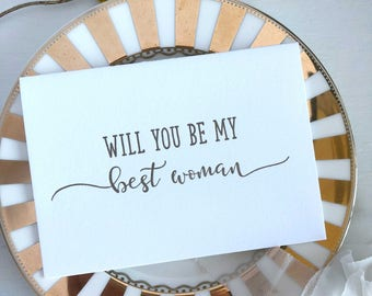 Will You Be My Best Woman Card, Wedding Day Card