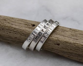 Hand Stamped Silver Ring - Name Ring - Mother's Ring - Stacking Ring - Stackable Stamped Name Rings - Gifts Under 25.00