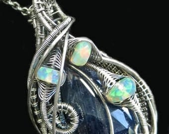 Natural Blue Sapphire Wire-Wrapped Pendant Necklace in Tarnish-Resistant Antiqued Sterling Silver with Ethiopian Welo Opals